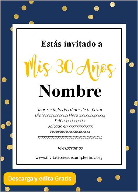 Invitación Para Cumpleaños De 30 Años fondo Azul