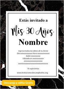 Invitación Cumpleaños De 30 Años Mármol negro