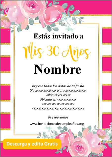 Invitación Cumpleaños De 30 Años fondo rayado rosas