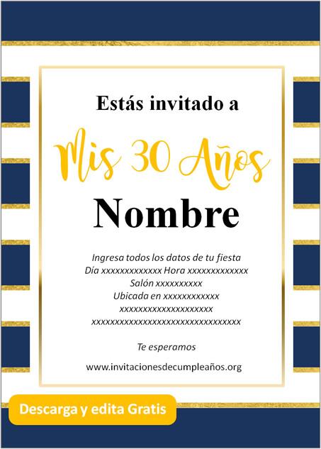 Invitación Cumpleaños De 30 Años rayado azul dorado