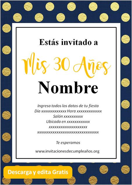 Invitación Para Cumpleaños De 30 Años Azul dorado
