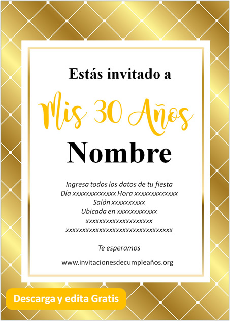 Invitación tarjeta Para Cumpleaños De 30 Fondo dorado