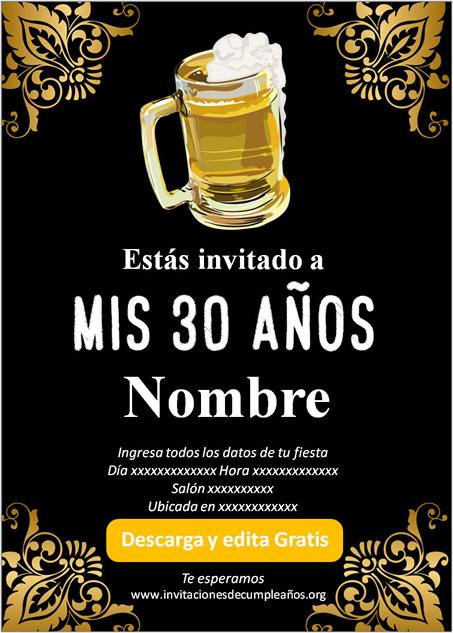 Invitación fiesta de 30 años Cerveza