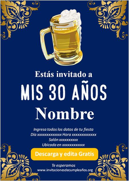 Invitación Adultos 30 años Cerveza