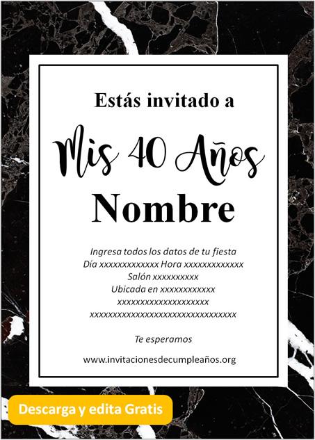 Invitación Cumpleaños De 40 Años Mármol negro