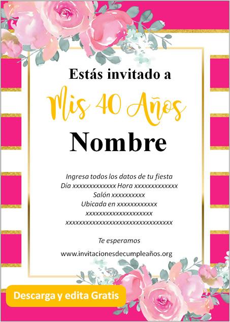 Invitación Cumpleaños De 40 Años fondo rayado rosas