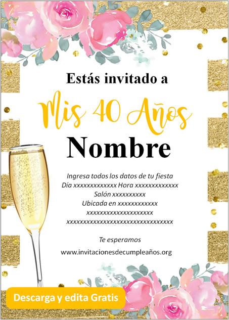 Invitaciones de 40 años rosas fondo dorado a rayas