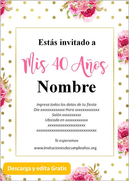 Invitación para 40 años Rosas puntos Dorados