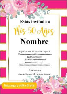 Invitación Cumpleaños De 50 Años fondo rayado rosas