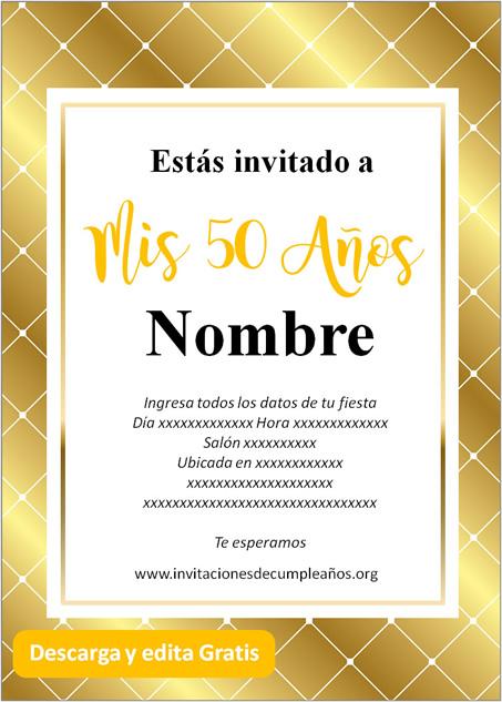 Invitaciones de 50 años fondo dorado