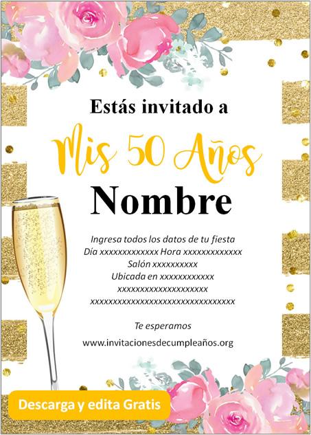 Invitación Para Cumpleaños De 50 Años Dorado Rosas