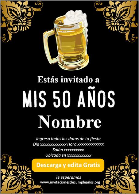 Invitación fiesta de 50 años Cerveza