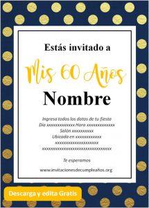 Invitaciones de 60 años para editar gratis