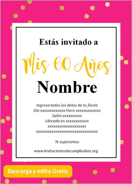 Invitaciones de 60 años gratis fondo rosado