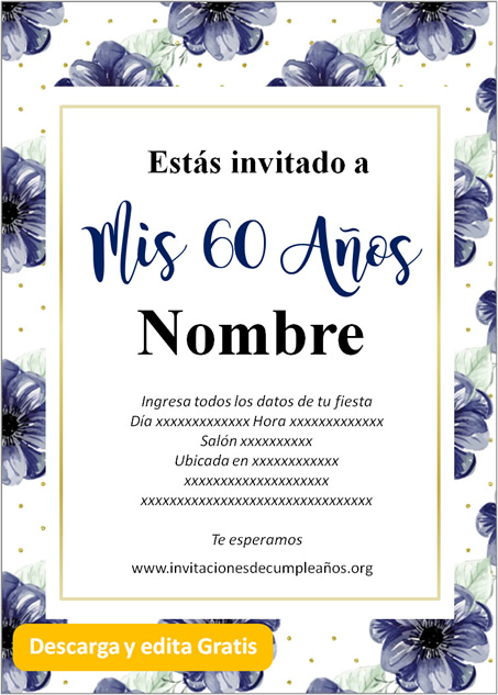 Invitación para 60 años Flores azules