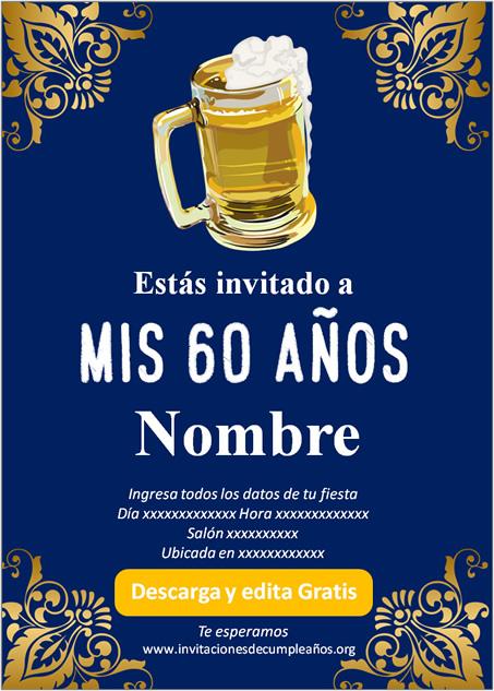 Invitación Adultos 60 años Cerveza