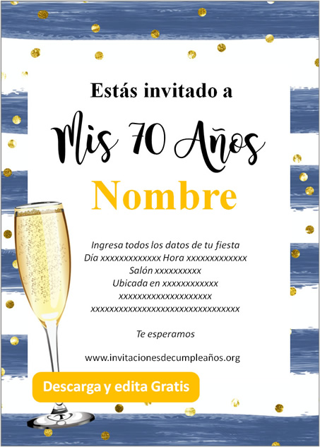 Invitación para fiesta de 70 años azul