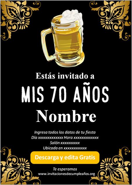 Invitación fiesta de 70 años Cerveza