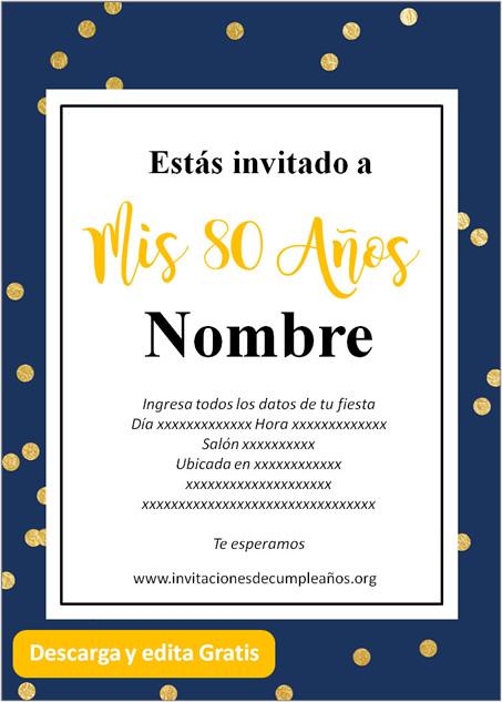 Invitación Para Cumpleaños De 80 Años fondo Azul