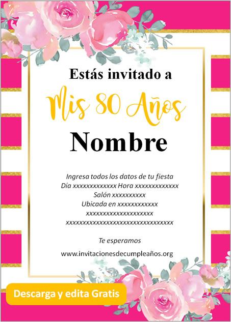 Invitación Cumpleaños De 80 Años fondo rayado rosas