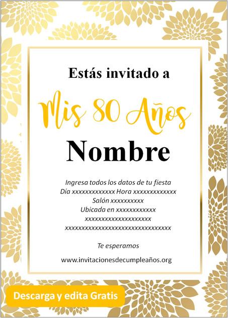Invitaciones de 80 años dorado