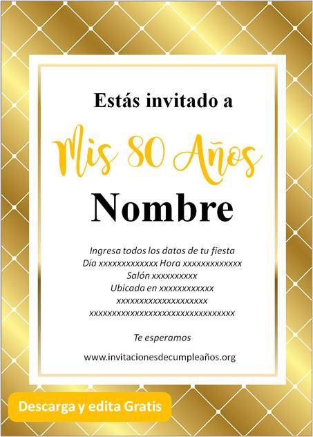 Invitación Para Cumpleaños De 80 Años Fondo dorado