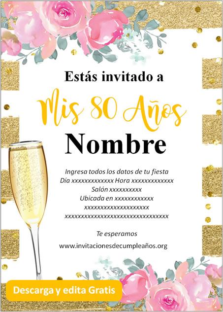 Invitaciones de 80 años fondo dorado