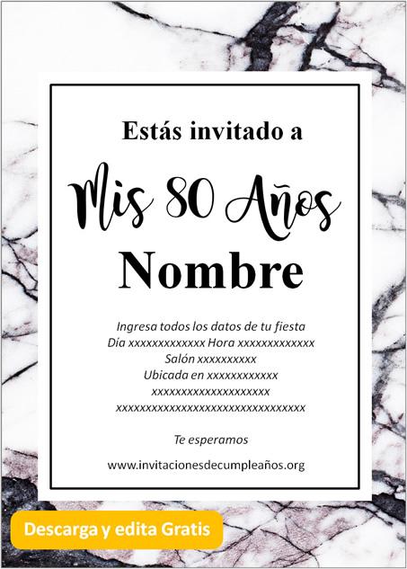 Invitación fiesta de 80 fondo mármol