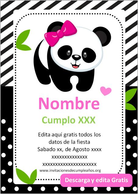 Invitación de osito Panda niña