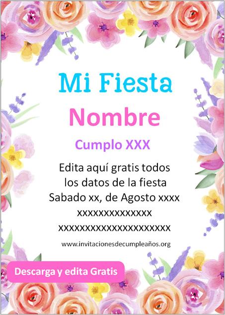 Invitación para Cumpleaños de Flores