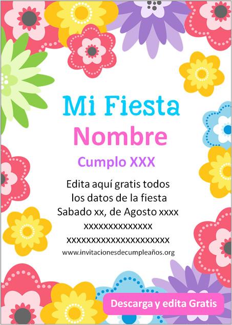 Invitación de Flores para Cumpleaños