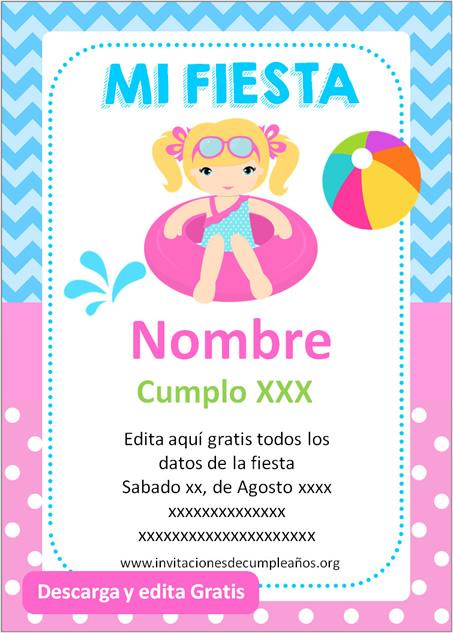 Invitación de Pileta Alberca niña