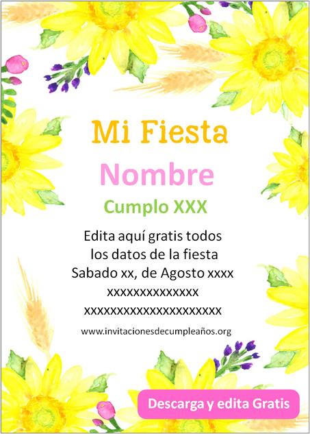 Invitación Girasoles flores amarillas