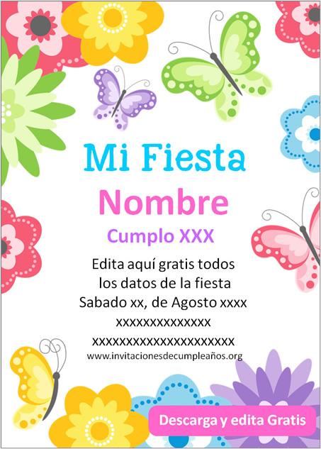 Invitación de cumpleaños Mariposas
