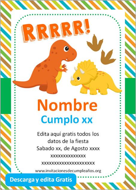 Invitación de Dinosaurio