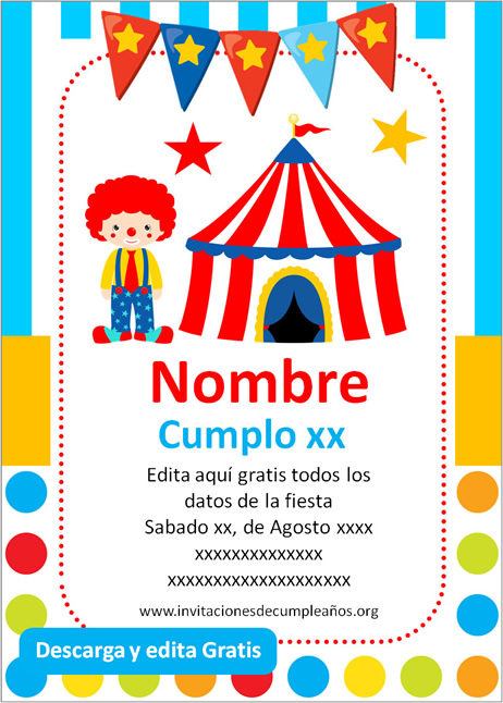 Invitación de Circo para Cumpleaños