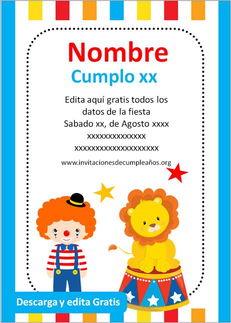 Invitación de cumpleaños Circo