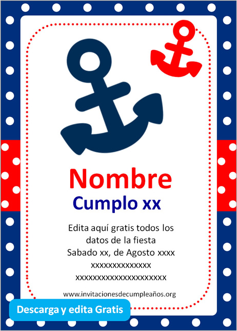 Invitación Cumpleaños Marinero niño