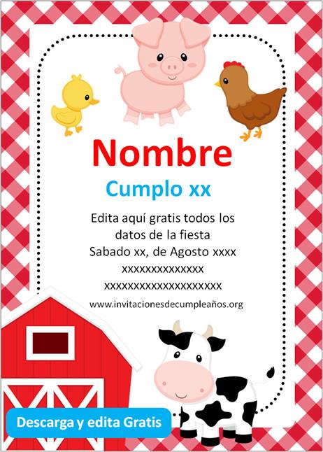 Invitación Animalitos de Granja niño