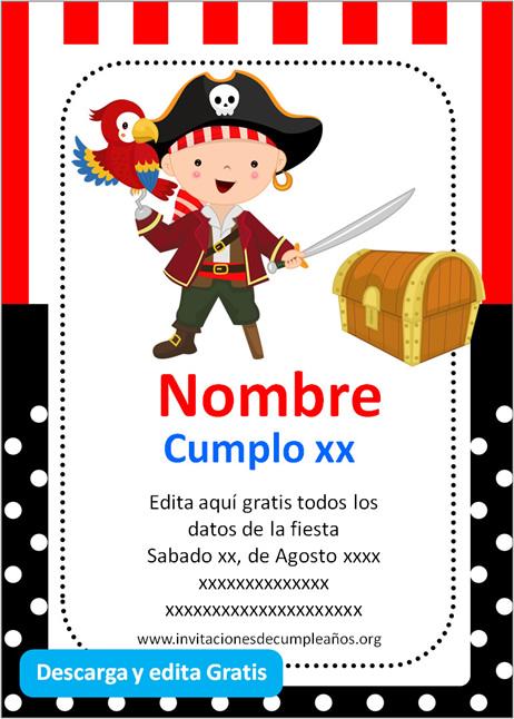 Invitación fiesta de Piratas niño