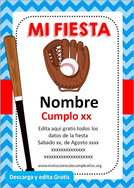 Invitación de Béisbol gratis