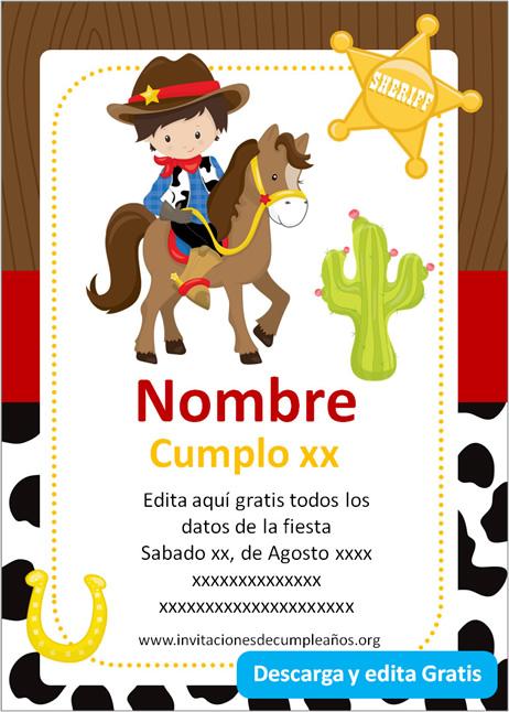 Invitación de Cowboy Vaquero