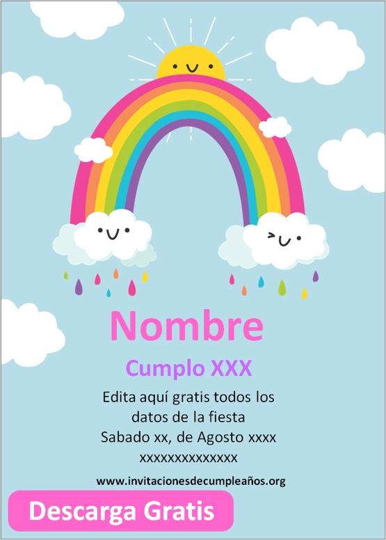 Invitaciones De Cumpleaños De arco iris Gratis