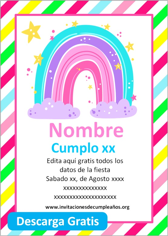 invitaciones de cumpleaños de arcoiris