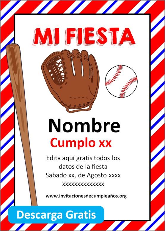 Invitacion fiesta béisbol