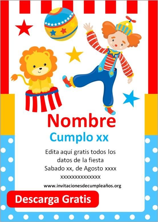 Invitaciones De Cumpleaños De Circo