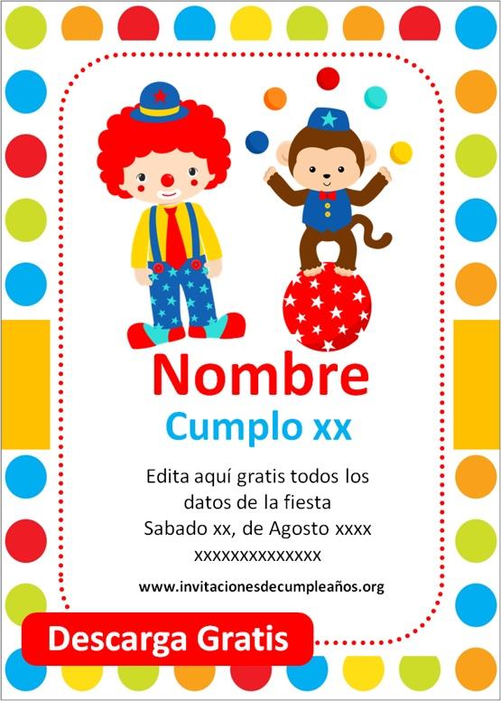 invitaciones de cumpleaños tematica circo