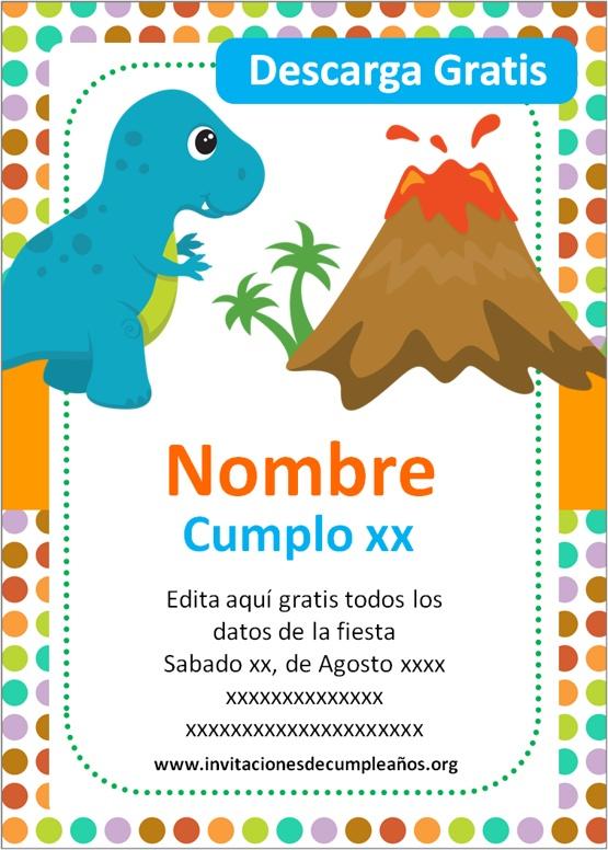 Invitaciones de Dinosaurios para niños