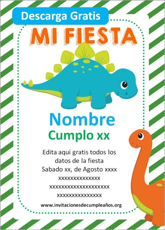 Invitaciones de Dinosaurios para editar
