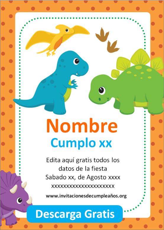 invitaciones de cumpleaños de dinosaurios para editar